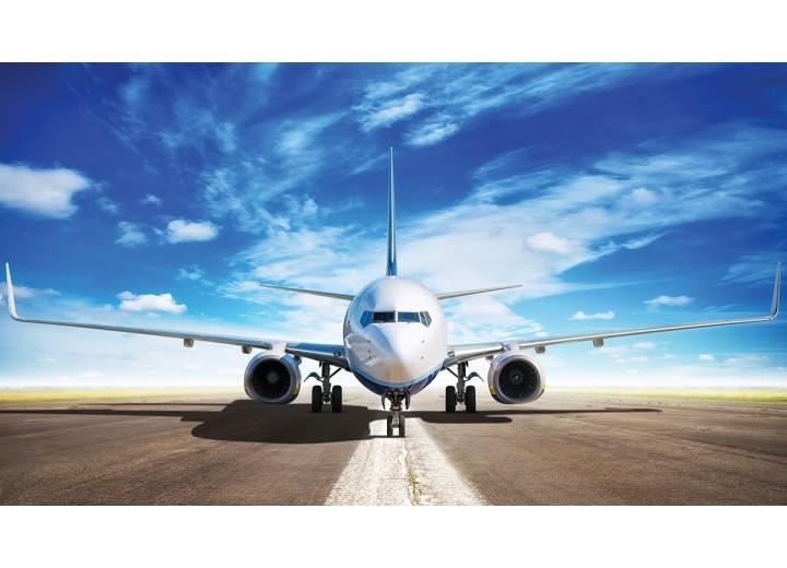 Fotobehang Vlies | Vliegtuig | Blauw, Wit | 450x254cm (bxh)
