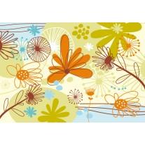 Fotobehang Papier Bloemen | Groen, Oranje | 254x184cm