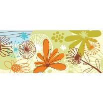 Fotobehang Bloemen | Groen, Oranje | 250x104cm