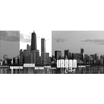 Fotobehang Skyline | Zwart, Wit | 250x104cm