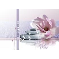 Fotobehang Papier Bloemen | Paars, Grijs | 254x184cm