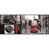 Fotobehang London | Zwart, Rood | 250x104cm