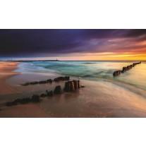 Fotobehang Papier Strand, Zee   Grijs   254x184cm