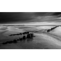 Fotobehang Papier Strand, Zee | Grijs, Zwart | 254x184cm