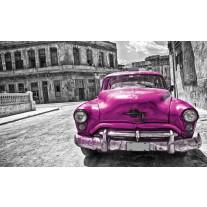 Fotobehang Papier Oldtimer, Auto | Roze, Grijs | 254x184cm