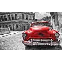 Fotobehang Papier Oldtimer, Auto | Grijs, Rood | 254x184cm