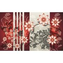 Fotobehang Papier Bloemen | Rood, Grijs | 254x184cm