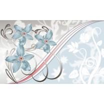 Fotobehang Papier Bloemen | Blauw, Grijs | 368x254cm