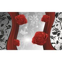 Fotobehang Papier Bloemen, Roos | Grijs, Rood | 254x184cm