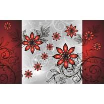 Fotobehang Papier Bloemen | Grijs, Rood | 254x184cm