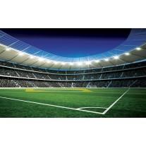 Fotobehang Papier Voetbal | Groen, Blauw | 254x184cm