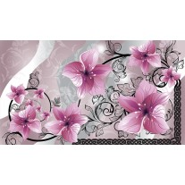 Fotobehang Papier Bloemen | Roze, Grijs | 368x254cm