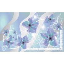 Fotobehang Papier Bloemen | Grijs, Blauw | 368x254cm