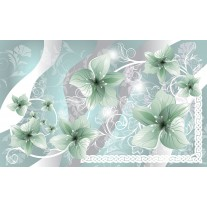 Fotobehang Papier Bloemen | Groen, Grijs | 254x184cm