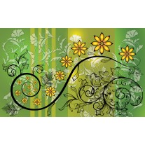 Fotobehang Papier Bloemen | Groen, Geel | 254x184cm
