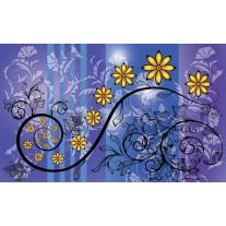Fotobehang Papier Bloemen | Blauw, Paars | 368x254cm