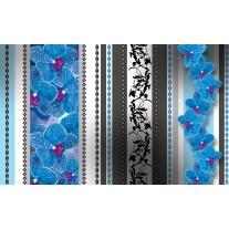 Fotobehang Papier Bloemen, Orchidee | Blauw, Grijs | 368x254cm