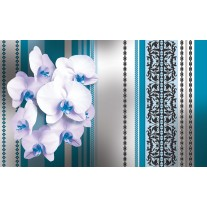 Fotobehang Papier Bloemen, Orchidee | Turquoise, Wit | 254x184cm