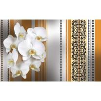 Fotobehang Papier Bloemen, Orchidee | Wit, Oranje | 254x184cm