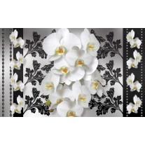 Fotobehang Papier Bloemen, Orchideeën | Wit, Grijs | 254x184cm