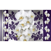 Fotobehang Papier Bloemen, Orchideeën | Wit, Grijs | 368x254cm