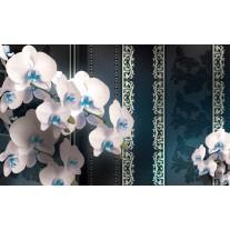 Fotobehang Papier Bloemen, Orchideeën | Turquoise | 254x184cm
