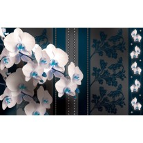 Fotobehang Papier Bloemen, Orchideeën | Blauw | 254x184cm