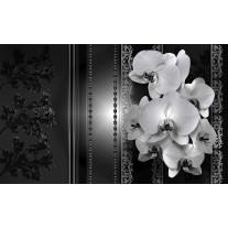 Fotobehang Papier Bloemen, Orchidee | Zwart | 254x184cm