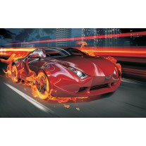Fotobehang Papier Auto | Rood, Oranje | 368x254cm