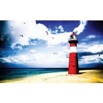 Fotobehang Papier Vuurtoren, Strand | Rood | 368x254cm