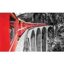 Fotobehang Papier Brug, Trein | Rood | 254x184cm