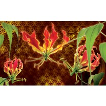 Fotobehang Papier Bloemen | Bruin, Groen | 368x254cm