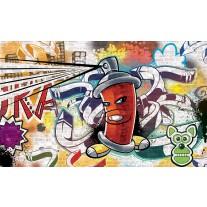 Fotobehang Papier Graffiti | Groen, Geel | 254x184cm