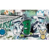 Fotobehang Papier Graffiti | Groen, Grijs | 254x184cm