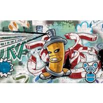 Fotobehang Papier Graffiti | Groen, Blauw | 254x184cm