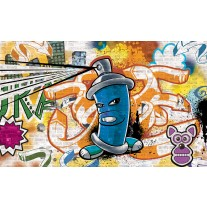 Fotobehang Papier Graffiti | Oranje, Blauw | 254x184cm