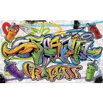 Fotobehang Papier Graffiti, Street art | Geel | 254x184cm