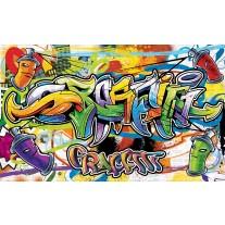 Fotobehang Papier Graffiti, Street art | Groen | 254x184cm