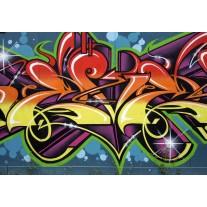 Fotobehang Papier Graffiti, Street art | Blauw | 254x184cm
