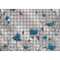 Fotobehang Papier Bloemen, Vlinder | Blauw, Grijs | 254x184cm