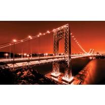 Fotobehang Papier Brug | Oranje | 254x184cm
