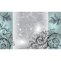 Fotobehang Papier Bloemen | Grijs, Zwart | 254x184cm