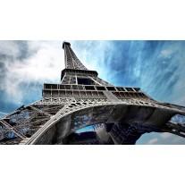 Fotobehang Papier Eiffeltoren | Grijs, Blauw | 254x184cm