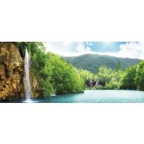 Fotobehang Natuur, Waterval | Groen, Blauw | 250x104cm