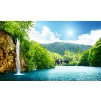 Fotobehang Papier Natuur, Waterval | Groen, Blauw | 368x254cm