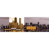 Fotobehang Vlies Skyline | Geel, Grijs | GROOT 832x254cm