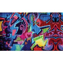 Fotobehang Papier Graffiti | Blauw, Rood | 368x254cm