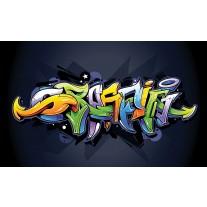 Fotobehang Papier Graffiti | Zwart, Groen | 254x184cm