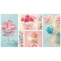 Fotobehang Papier Snoepjes | Turquoise, Roze | 254x184cm