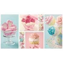 Fotobehang Papier Snoepjes | Turquoise, Roze | 368x254cm